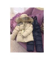 Костюм зимний Бэрберри бежевый с полукомбинезоном
