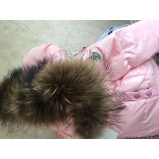 Детские пуховики для девочек с теплыми штанами на подтяжках