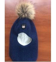 Шапка - шлем с помпоном из натурального меха енота темно синяя
