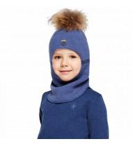 Шапка шлем с помпоном из натурального енота KOTIK светло синяя