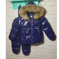 Глянцевый синий  (пуховик , штаны с подтяжками) Moncler