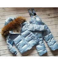 Зимний костюм Монклер цвет голубой   с полукомбинезоном
