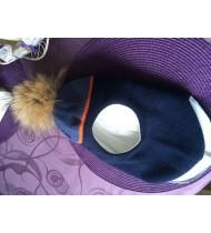 Шапка шлем с помпоном из натурального енота Kotik Синяя с полосой